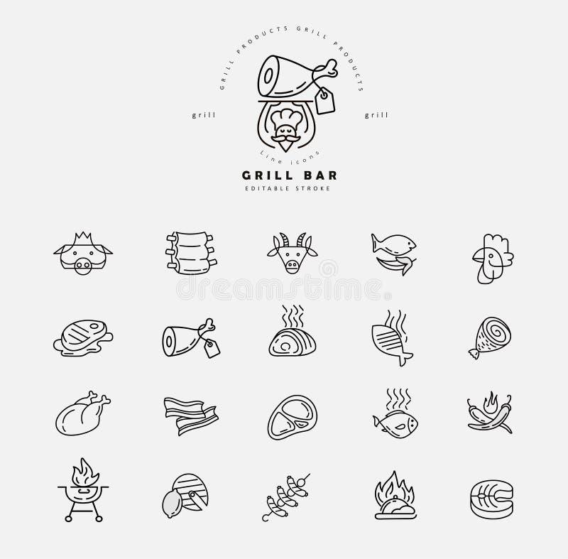 Wektorowa ikona i logo dla mięsa, grill restauracja i kawiarnia lub ilustracji