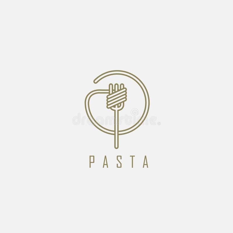 Wektorowa ikona i logo dla włoskiego makaronu lub klusek ilustracji