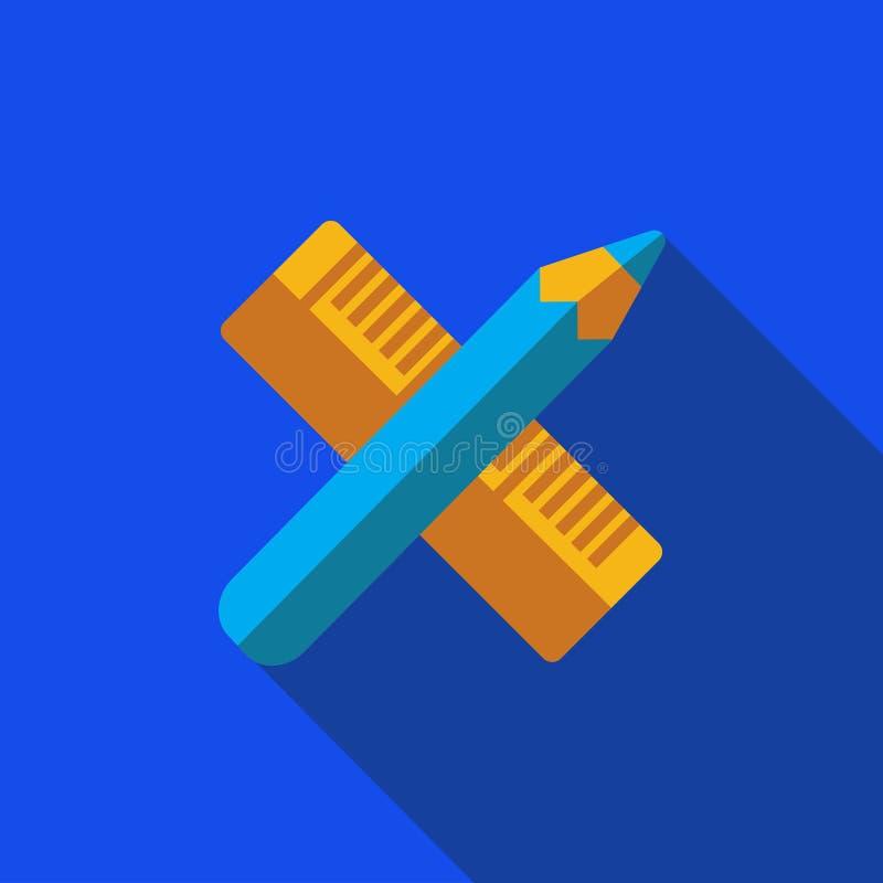 Wektorowa ikona lub ilustracja z krzyżującym narzędziem w płaskim projekta stylu ołówka i władcy royalty ilustracja