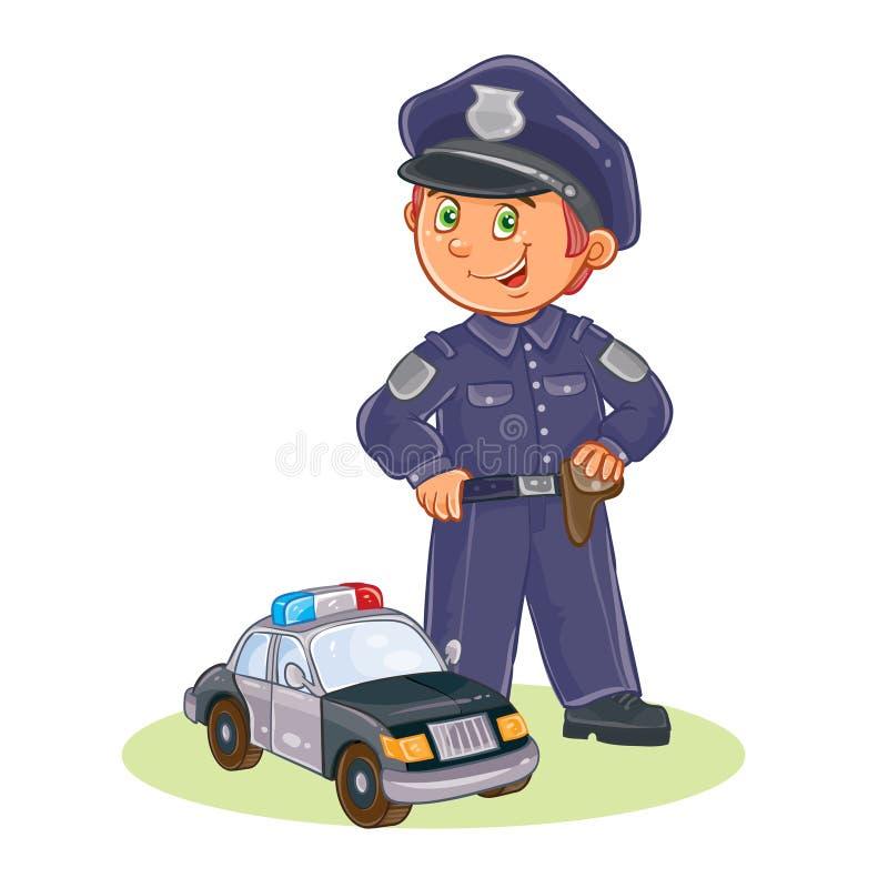 Wektorowa ikona mały dziecko policjant i jego samochód royalty ilustracja