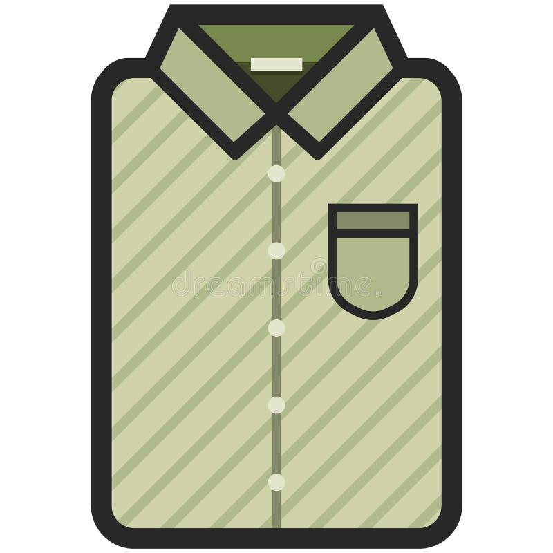Wektorowa ikona nowożytna oliwna koszula z zmrok lampasami dla mężczyzna lub kobiety w mieszkanie stylu Piksel Perfect Biznes i b ilustracja wektor