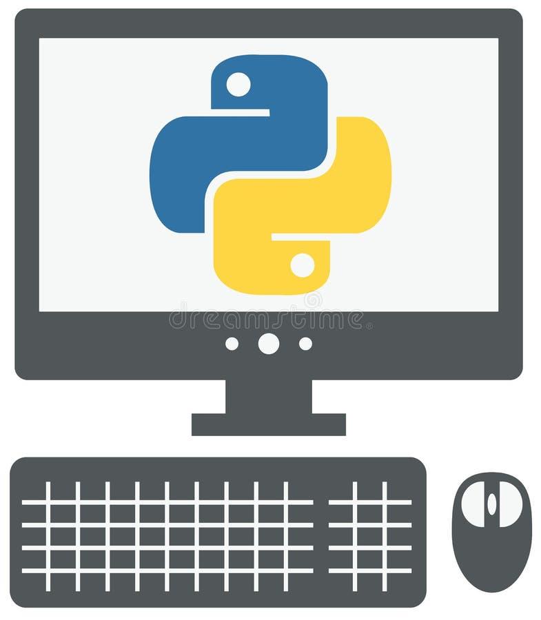 Wektorowa ikona osobisty komputer z pytonu znakiem na ekranie, ilustracji