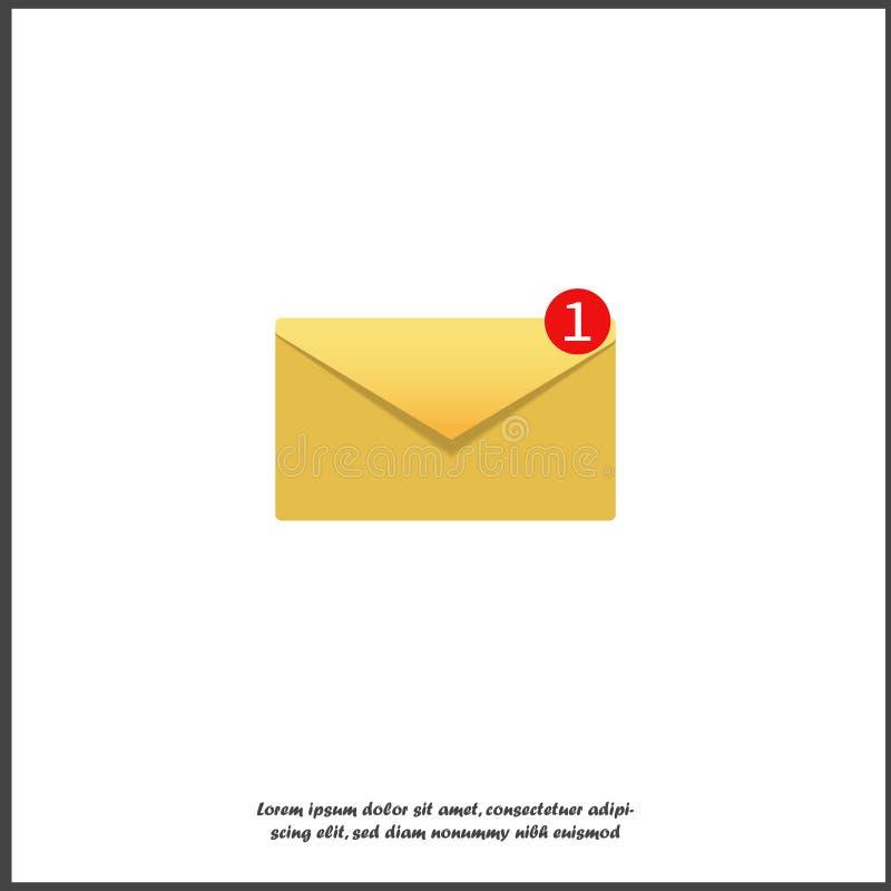 Wektorowa ikona - powiadomienie wiadomość Symbol jest jeden nowym wiadomością Jeden nowy list na białym odosobnionym tle royalty ilustracja