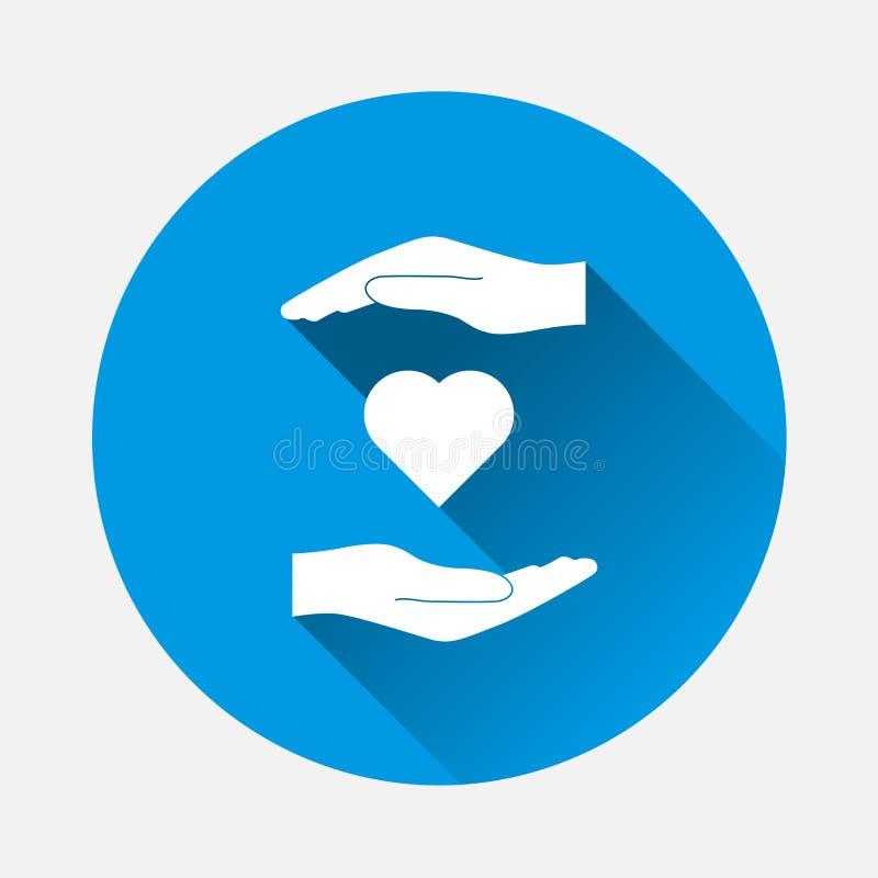 Wektorowa ikona ręki trzyma serce opieka zdrowotna symbol na błękitnym ilustracja wektor