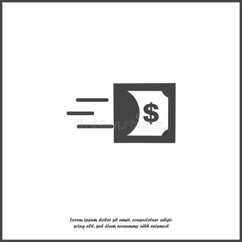 Wektorowa ikona ruch dolar na białym odosobnionym tle Symbol szybki pieni?dze ilustracja wektor