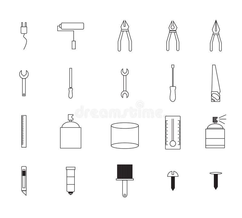 Wektorowa ikona ustawiająca dla malować narzędzia ilustracja wektor