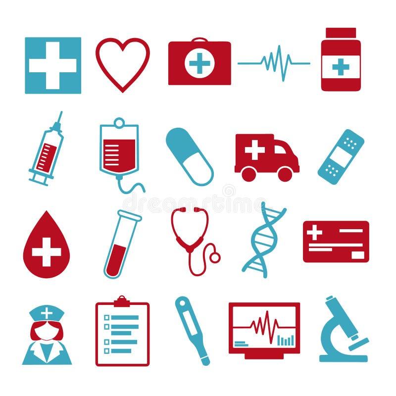 Wektorowa ikona ustawiająca dla tworzyć infographics odnosić sie medycyna i zdrowie, jak pigułka, opryskuje, pielęgnuje, karetka, ilustracji