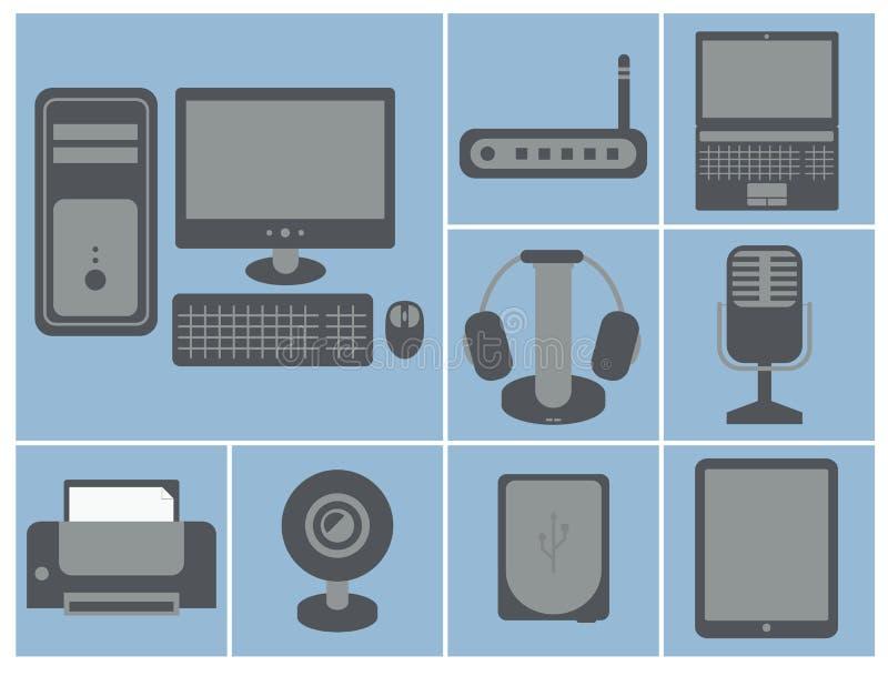 Wektorowa ikona ustawiająca komputerowi przyrząda: osobisty komputer, router, royalty ilustracja