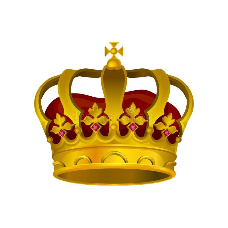 Wektorowa ikona złota korona z cennymi kamieniami, czerwonym aksamitem i krzyżem na wierzchołku, Symbol królewska godność Element ilustracji
