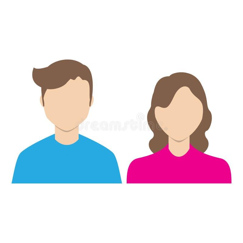 Wektorowa ikona z mężczyzną i kobietą Prosta ilustracja z postaciami zaludnia royalty ilustracja