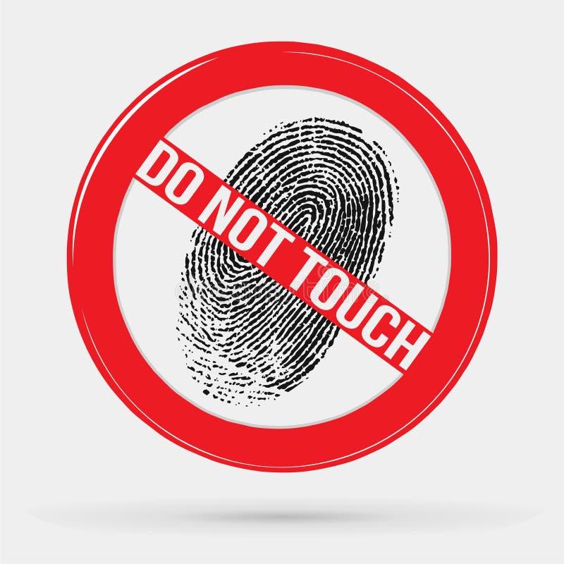 Wektorowa ikona zakazująca opuszczać odciski palca, dotyk, przerwa znak, zakaz, odcisk palca ilustracja wektor