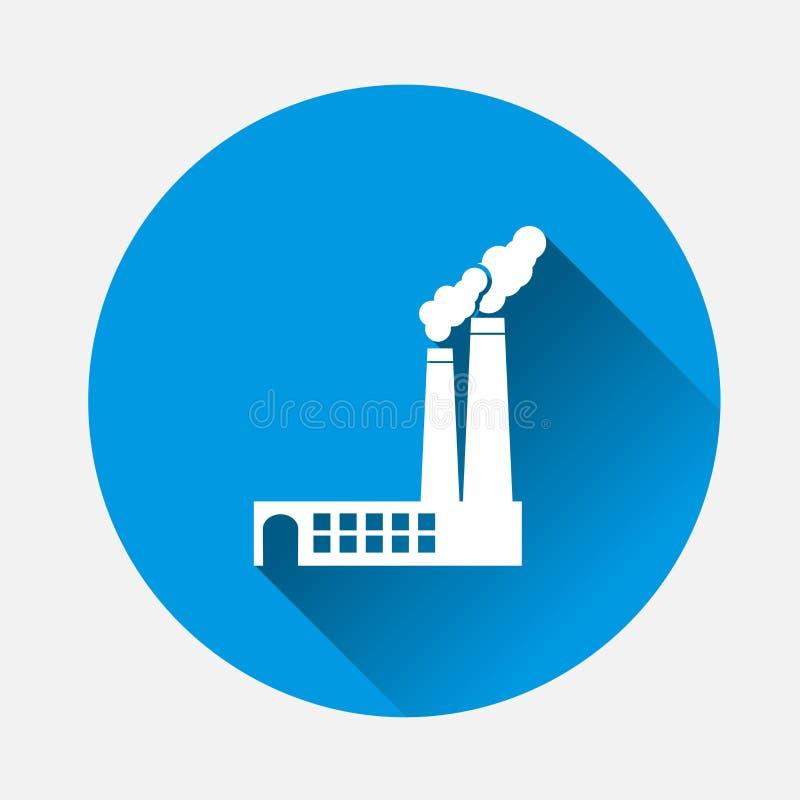 Wektorowa ikony fabryka na błękitnym tle Płaska wizerunek fabryka z ilustracja wektor