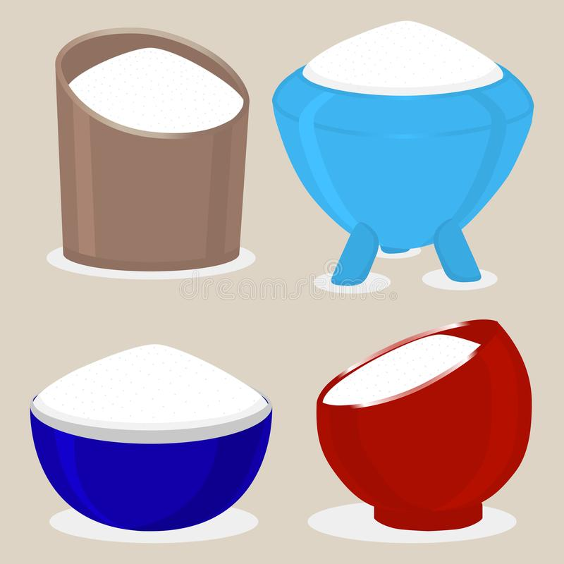 Wektorowa ikony ilustracja logo dla tematu ustalonego słodkiego krystalicznego prochowego cukieru royalty ilustracja