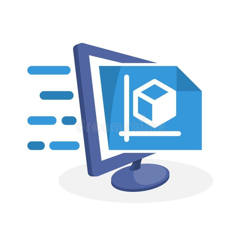 Wektorowa ikony ilustracja z cyfrowym medialnym pojęciem o online projekta planowania usługa ilustracji