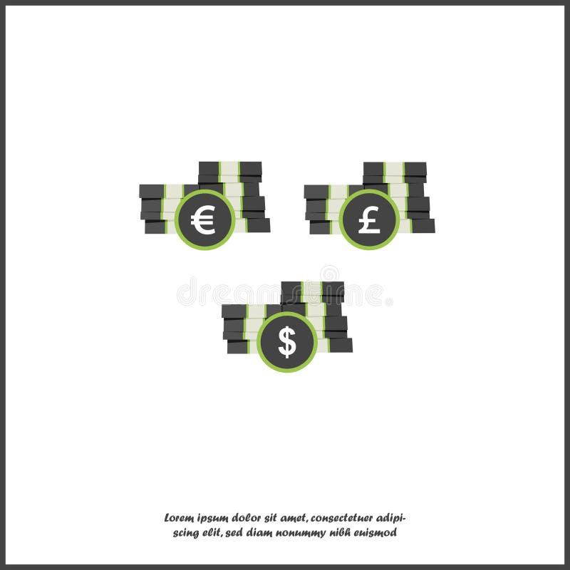 Wektorowa ikony sterta pieniądze Papier moneta i notatki Symbolu bank, pieniądze i monety gotówka, Ikony dolar, euro i jen, muśni royalty ilustracja