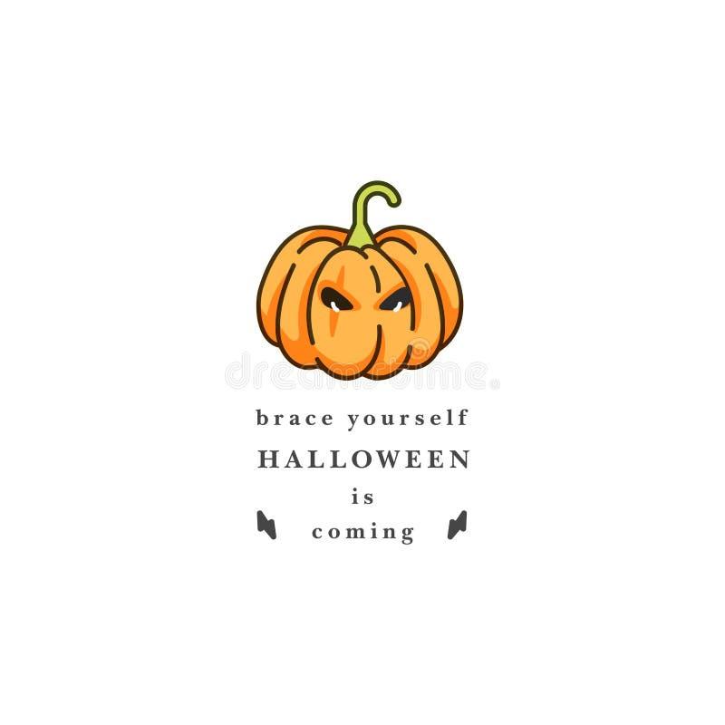 Wektorowa illuatration Halloween bania z horror twarzą na białym tle Szczęśliwy Halloween przyjęcia świętowanie wakacje ilustracji
