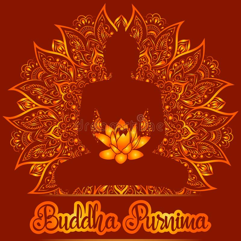 Wektorowa ilustraci karta dla Buddha Purnima
