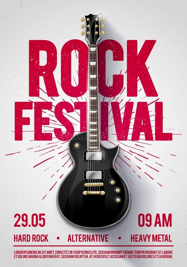 Wektorowa ilustraci skały festiwalu koncerta przyjęcia ulotka lub posterdesign szablon z gitarą, miejsce dla teksta i cool skutki royalty ilustracja