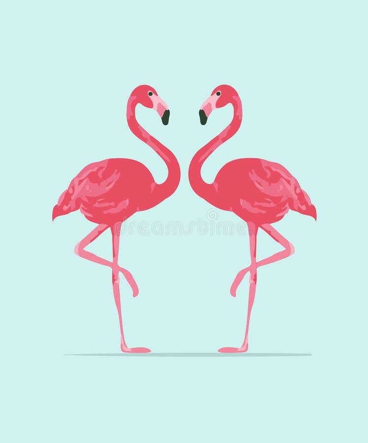 Wektorowa ilustracj menchii flaminga para royalty ilustracja