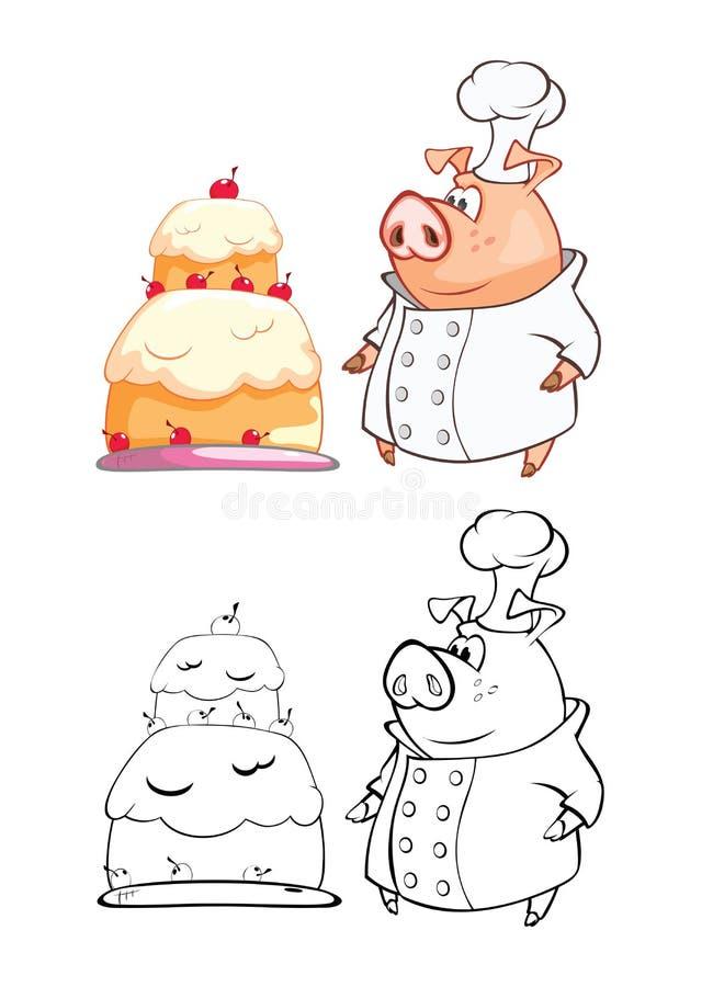 Wektorowa ilustracja Śliczna świni Cook postać z kreskówki Ð «ÐΜÐ·Ñ ‹Ð ¼ Ñ  Ð ½ Ð ½ Ñ ‹Ð¸Ì † - 4 royalty ilustracja