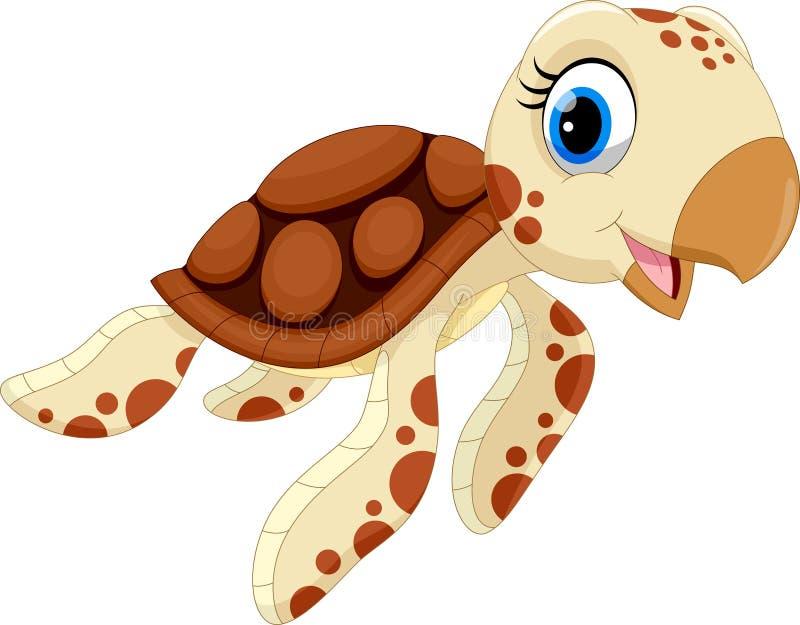 Wektorowa ilustracja śliczna żółw kreskówka ilustracja wektor