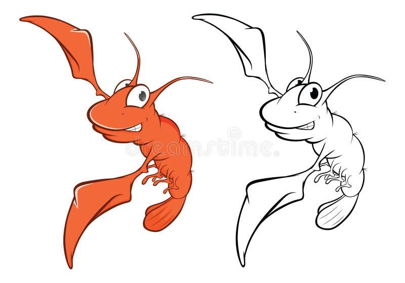 Wektorowa ilustracja Śliczna Czerwona Krewetkowa postać z kreskówki książkowa kolorowa kolorystyki grafiki ilustracja ilustracja wektor