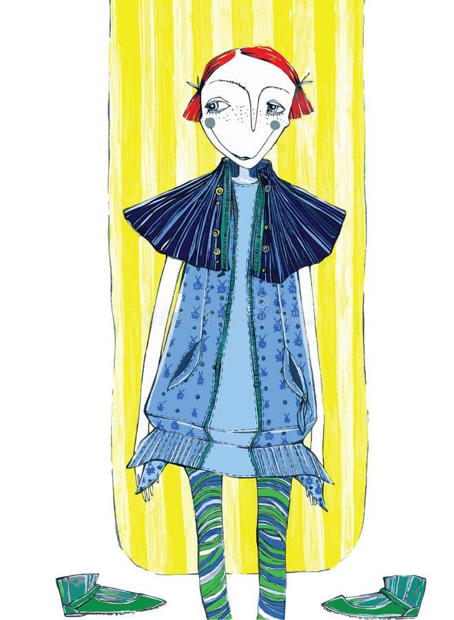Wektorowa ilustracja, śliczna dziewczyna w modzie, kreskówki pojęcie z projektującym tłem, fotografia stock