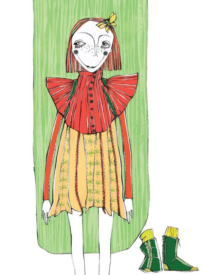 Wektorowa ilustracja, śliczna dziewczyna w modzie, kreskówki pojęcie z projektującym tłem, zdjęcia royalty free