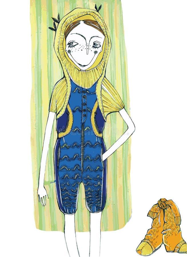 Wektorowa ilustracja, śliczna dziewczyna w modzie, kreskówki pojęcie z projektującym tłem, obrazy stock