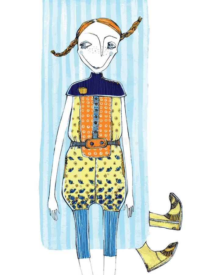 Wektorowa ilustracja, śliczna dziewczyna w modzie, kreskówki pojęcie z projektującym tłem, fotografia royalty free