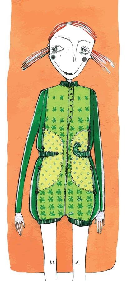 Wektorowa ilustracja, śliczna dziewczyna w modzie, kreskówki pojęcie z projektującym tłem, obraz royalty free