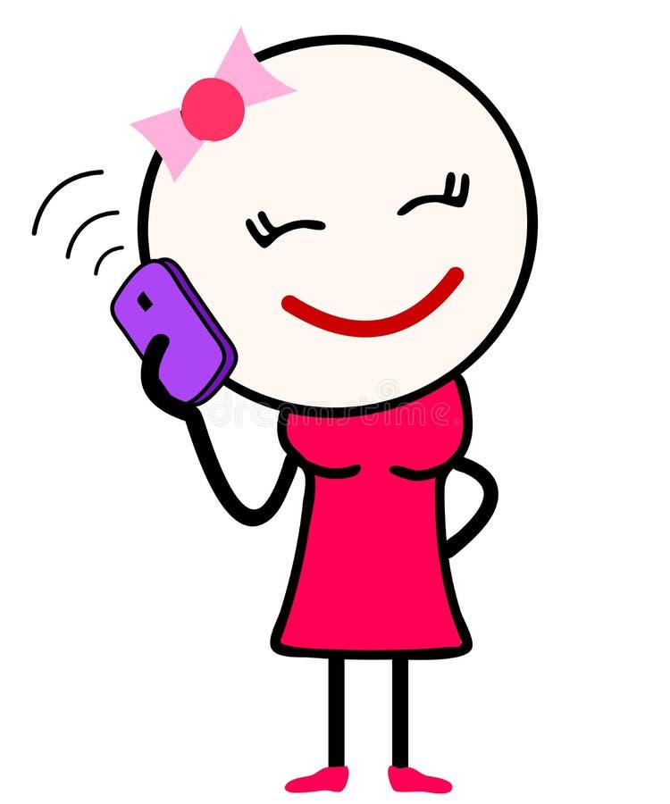 Wektorowa ilustracja śliczna dziewczyny kreskówka opowiada nad telefonem komórkowym royalty ilustracja