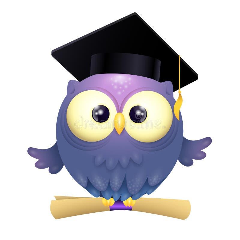 Wektorowa ilustracja śliczna lillte sowa jest ubranym skalowanie nakrętkę i trzyma dyplom podczas gdy latający ilustracji