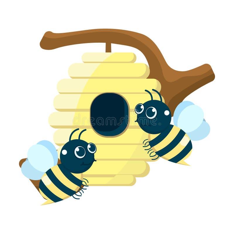 Wektorowa ilustracja śliczna miodowa pszczoła z tłem honeycomb który wiesza na drzewnym bagażniku ilustracja wektor