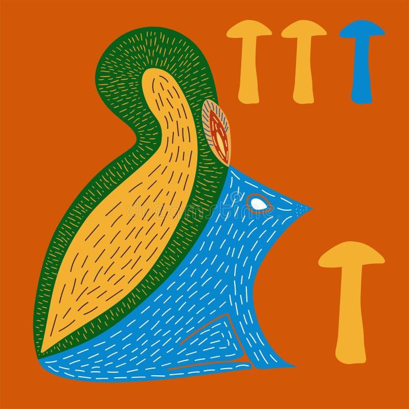 Wektorowa ilustracja śliczna ręka rysująca wiewiórka royalty ilustracja