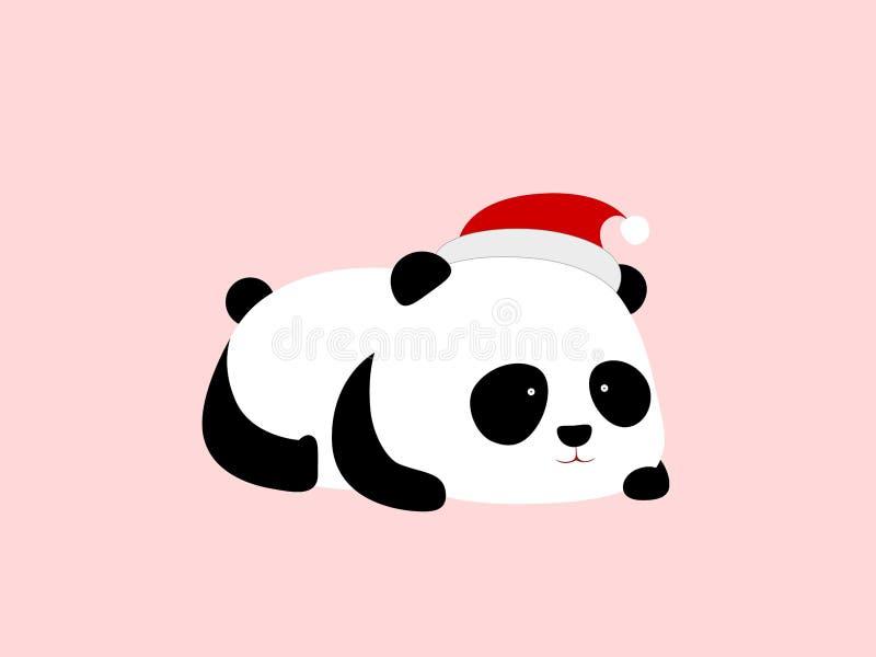 Wektorowa ilustracja - ślicznej kreskówki gigantyczna panda kłama na swój żołądku z kapeluszem, Święty Mikołaj nakrętką na swój g royalty ilustracja