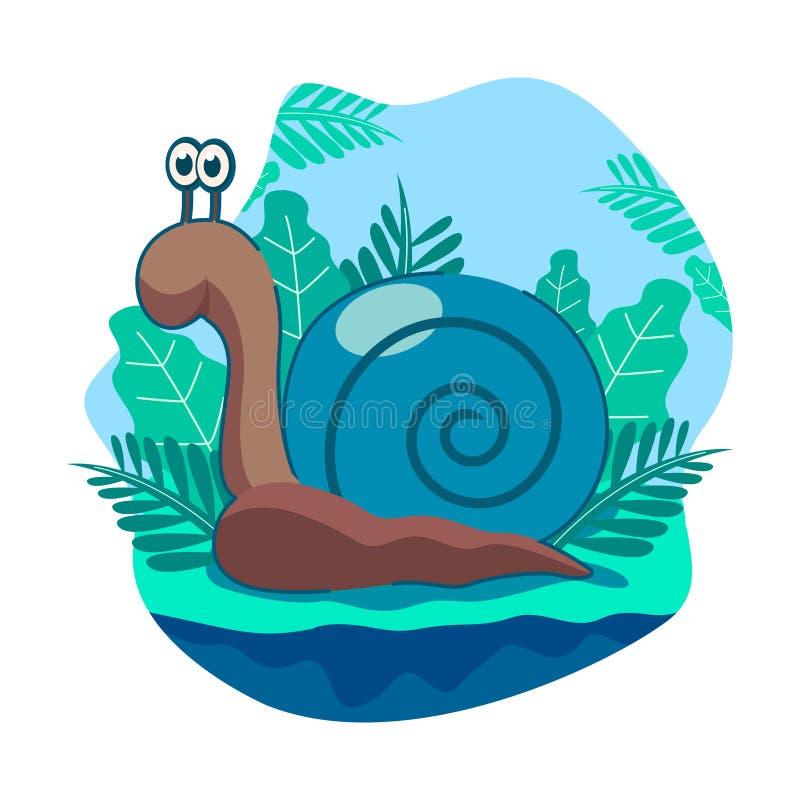 Wektorowa ilustracja śliczni błękitni ślimaczki z tłem jaśni nieba i liście royalty ilustracja