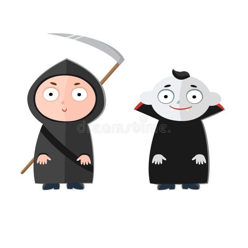 Wektorowa ilustracja śliczni dzieciaki jest ubranym Halloween kostiumy ilustracji