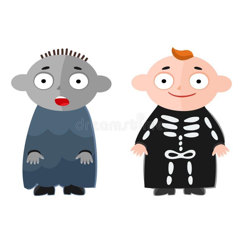 Wektorowa ilustracja śliczni dzieciaki jest ubranym Halloween kostiumy royalty ilustracja