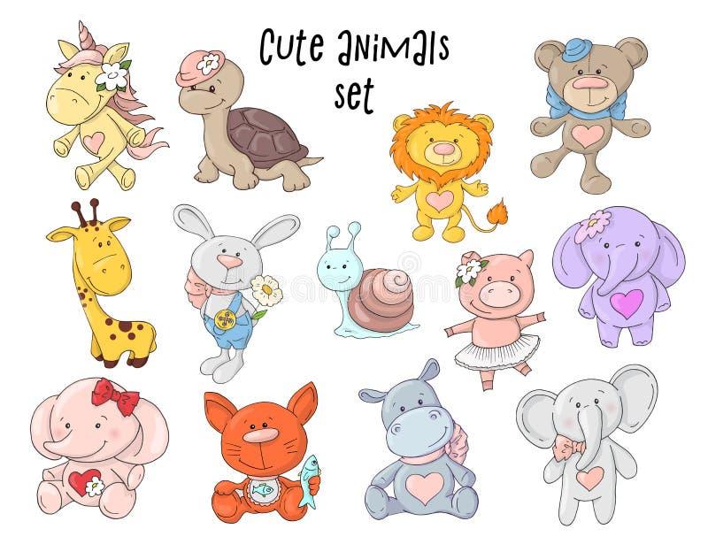 Wektorowa ilustracja śliczni zwierzęta ustawiający royalty ilustracja