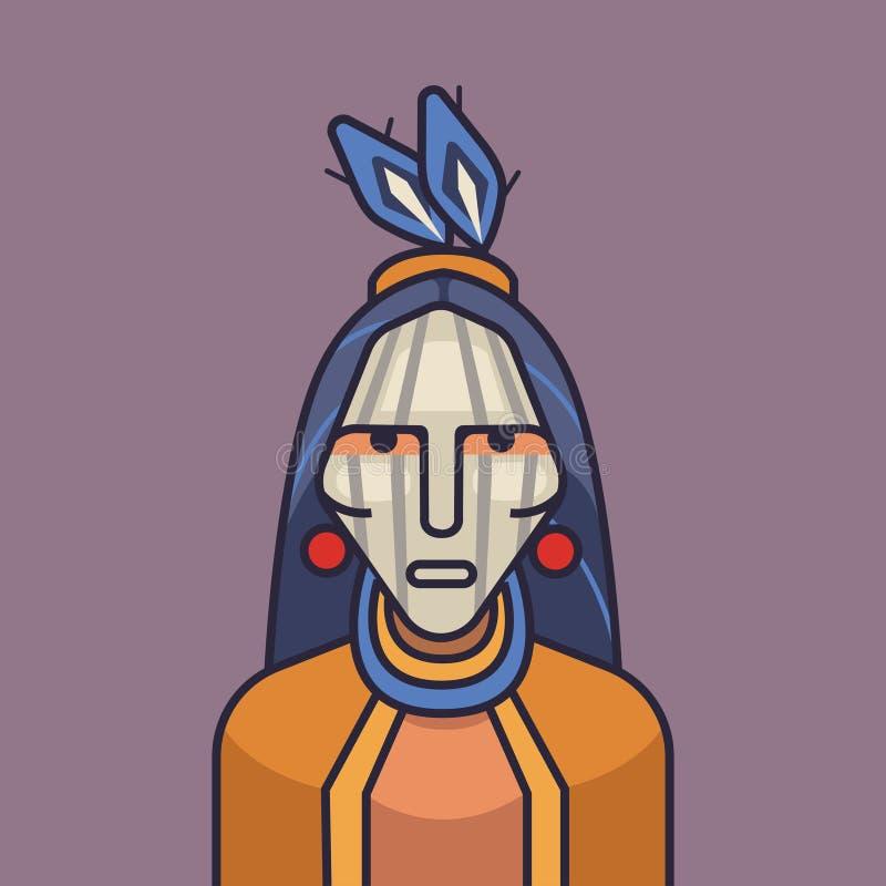 Wektorowa ilustracja śliczny czerwony hindus Kreskówka amerykanina hindusi royalty ilustracja
