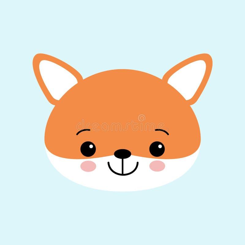 Wektorowa ilustracja śliczny Fox Dziecięcy tło z uśmiechniętym postać z kreskówki royalty ilustracja