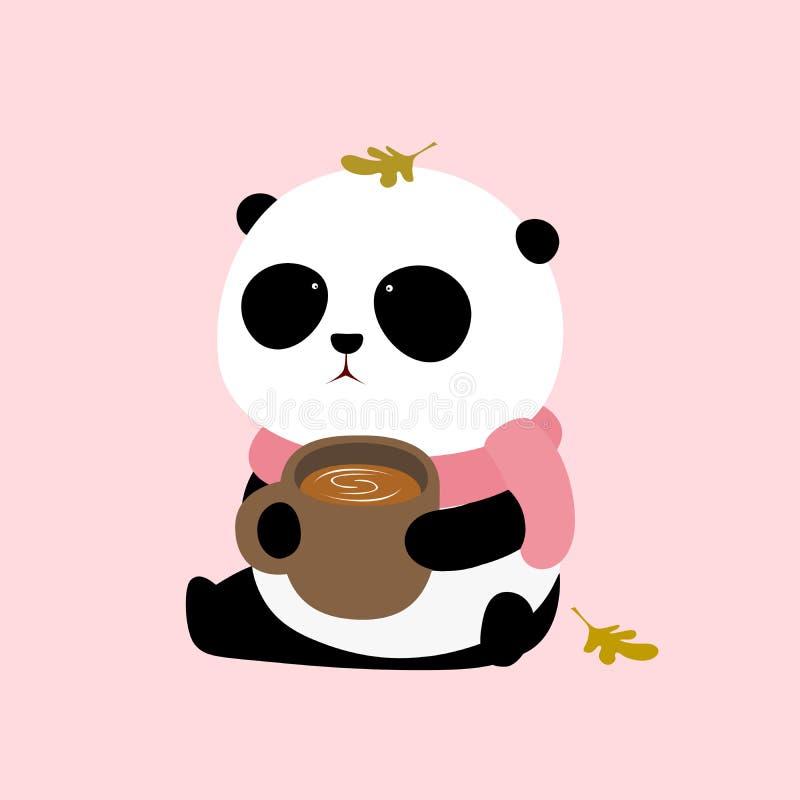Wektorowa ilustracja: Śliczny kreskówki gigantycznej pandy obsiadanie na ziemi z filiżanką kawy ilustracji
