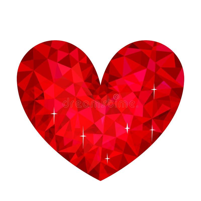 Wektorowa ilustracja śliczny serce w stylowy niski poli- odosobnionym na bielu ilustracja wektor