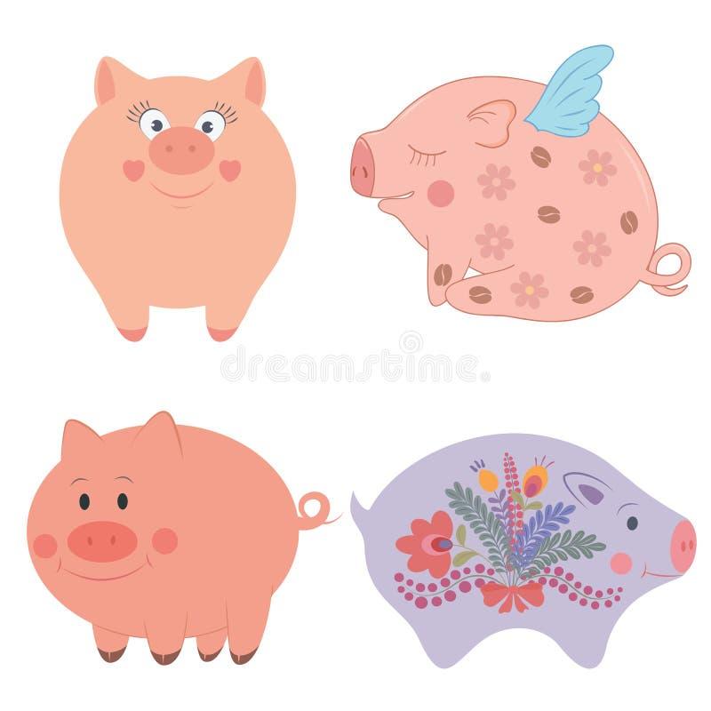 Wektorowa ilustracja śmieszne kreskówek świnie ilustracji