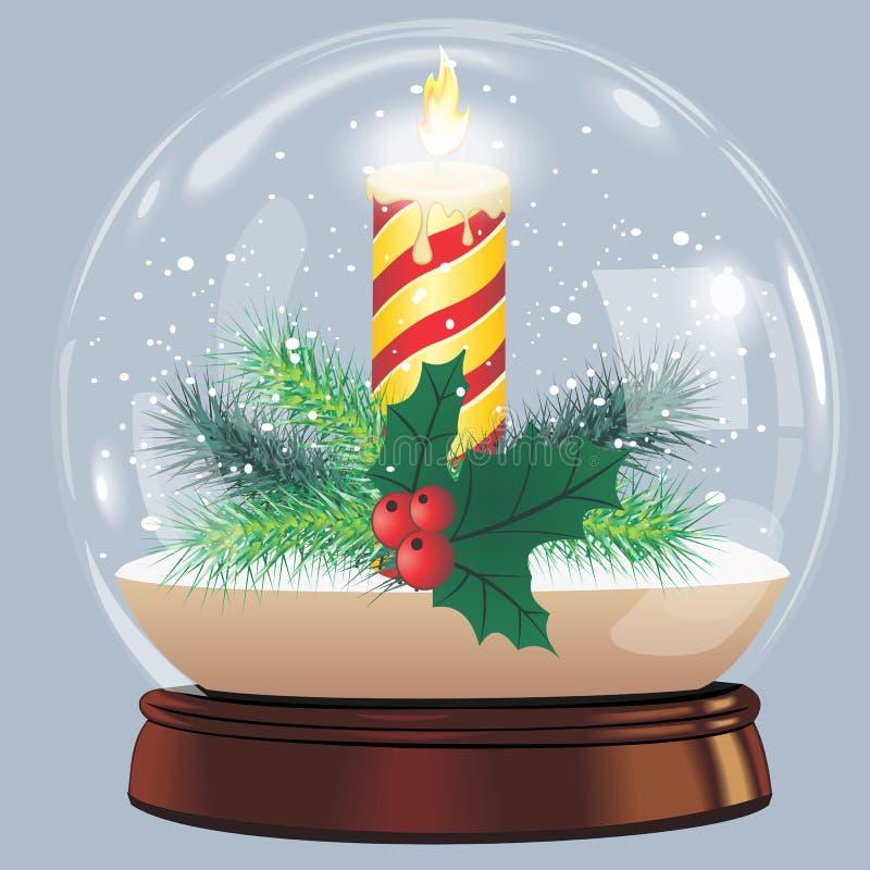 Wektorowa ilustracja śnieżnej kuli ziemskiej nowego roku balowi realistyczni chrismas protestuje na bielu z cieniem ilustracji