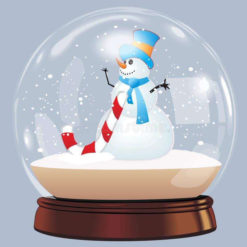 Wektorowa ilustracja śnieżnej kuli ziemskiej nowego roku chrismas balowy realistyczny przedmiot odizolowywający na bielu z cienie ilustracji
