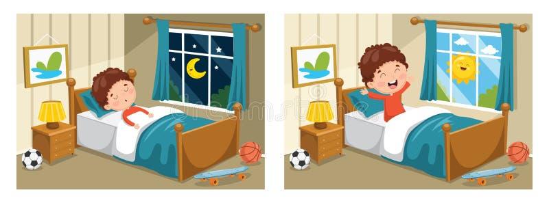 Wektorowa ilustracja Śpi Up I Budzi się dzieciak ilustracja wektor