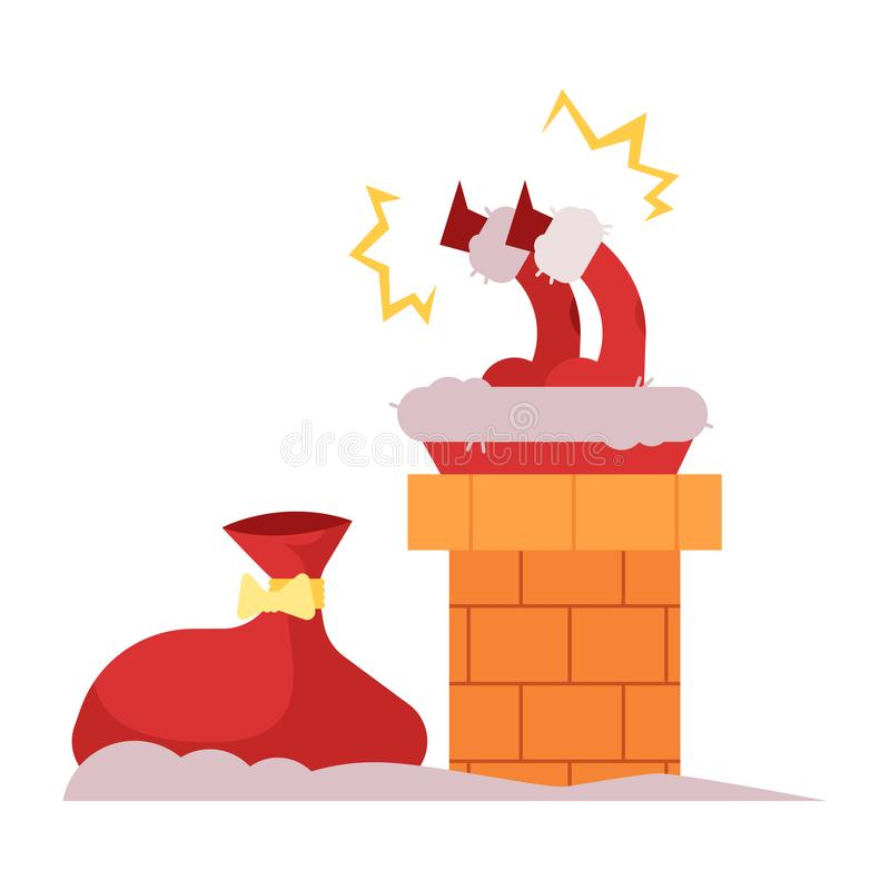 Wektorowa ilustracja Święty Mikołaj próbuje przychodzić puszek dawać Bożenarodzeniowym prezentom wtykał w kominie ilustracja wektor