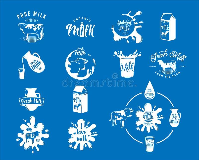Wektorowa ilustracja świezi nabiału mleka logowie, znaczki dla milky naturalnego produktu royalty ilustracja